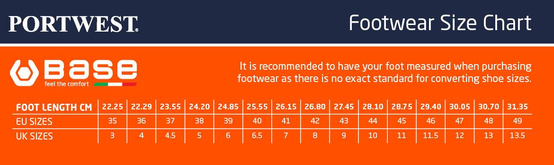 Base Protection lábbelik méretátváltó táblázata