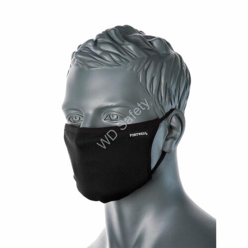 Portwest CV33 3 rétegű anti-mikrobiális arcmaszk, fekete
