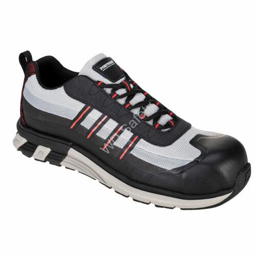 Portwest OlymFlex London S1P SRA Trainer munkavédelmi cipő, szürke/fekete
